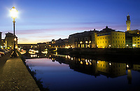 Italy, Florence, view of the Arno River at dusk with Ponte Vecchio