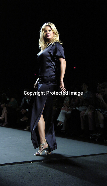 Rachel Hunter ..at the Fashion For Relief Fashion Show Benefit on September 16, 2005 at The Tents at the Olympus Fashion Week with money to be donatted to AmeriCares. ..Photo by Robin Platzer, Twin Images