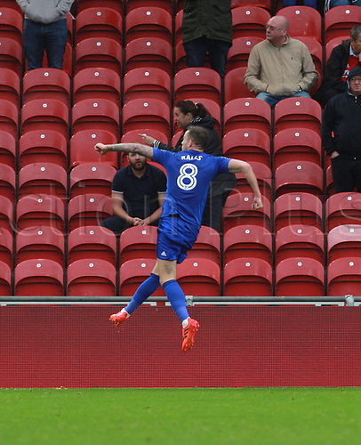 21st October 2017, Riverside Stadium, Middlesbrough, England; EFL Championship football, Middlesbrough versus Cardiff City; Joe Ralls of Cardiff City celebrates scoring from the spot in the 84th minute