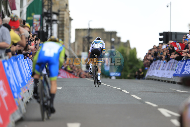 Primoz Roglic (SLO) and Rohan Dennis (AUS) in action during the Men Elite Individual Time Trial of the UCI World Championships 2019 running 54km from Northallerton to Harrogate, England. 25th September 2019.<br /> Picture: Eoin Clarke | Cyclefile<br /> <br /> All photos usage must carry mandatory copyright credit (© Cyclefile | Eoin Clarke)