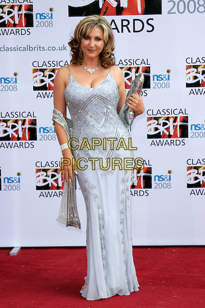 LESLEY GARRETT.Arrivals for the Classical Brit Awards 2008 held at the Royal Albert Hall, London, England, UK..May 8th, 2008.full length leslie silver purple lilac grey gray dress sequined shawl wrap bag blue long maxi .CAP/AH.©Adam Houghton/Capital Pictures.