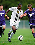 11 September 2009: University of Vermont Catamount forward/midfielder T.J. Gore (7), a Senior from Macomb, MI, battles University of Portland Pilot midfielder Jarad vanSchaik (21), a Junior from Tualatin, OR, in the first round of the 2009 Morgan Stanley Smith Barney Soccer Classic held at Centennial Field in Burlington, Vermont. The Catamounts and Pilots battled to a 1-1 double-overtime tie. Mandatory Photo Credit: Ed Wolfstein Photo