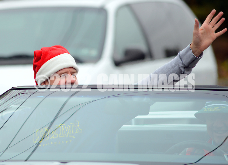 12/1/12 12:22:52 PM - Souderton, PA: .Parade Grand Marshall, Preston Elliot of Philadelphia radio station WMMR waves to the crowd during the Souderton/Telford Holiday Parade December 1, 2012 in Souderton, Pennsylvania -- (Photo by William Thomas Cain/Cain Images)