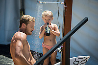COOLANGATTA, Queensland/Australia (Saturday, February 28, 2015) Bede Durbidge (AUS) with his daughter Willow. - The world's best surfers began competition  on Australia's Gold Coast today in the opening stop of the 2015 World Surf League (WSL)  Championship Tour (CT) season, the Quiksilver and Roxy Pro Gold Coast. The event got underway today at 8 a.m. local time with Men's Round 1 followed by Women's Round 1.<br /> <br /> Reigning WSL Champions and defending event winners Gabriel Medina (BRA) and Stephanie Gilmore (AUS) both competed in Round 1 today. Medina will face rookie compatriot Wiggolly Dantas (BRA) and event wildcard Dane Reynolds (USA), in Men's Round 1 Heat 6, while Gilmore faces a returned-to-form Silvana Lima (BRA) and Bronte Macaulay (AUS), (winner of the Trials) in Women's Round 1 Heat 3. Medina was successful in his heat with Gilmore lost to Lima and will surf in Round 2.<br /> -  Photo: joliphotos.com