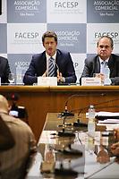 """SÃO PAULO, SP, 26.08.2019 - POLITICA-SP - Ricardo Salles, Ministro do Meio Ambiente, participa de palestra """"Meio Ambiente: desafios"""", na Associação Comercial de São Paulo, nesta segunda-feira, 26. (Foto Charles Sholl/Brazil Photo Press/Folhapress)"""