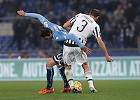 Calcio, Serie A: Lazio vs Juventus. Roma, stadio Olimpico, 4 dicembre 2015.<br /> Lazio&rsquo;s Alessandro Matri, left, is challenged by Juventus&rsquo; Giorgio Chiellini during the Italian Serie A football match between Lazio and Juventus at Rome's Olympic stadium, 4 December 2015.<br /> UPDATE IMAGES PRESS/Isabella Bonotto