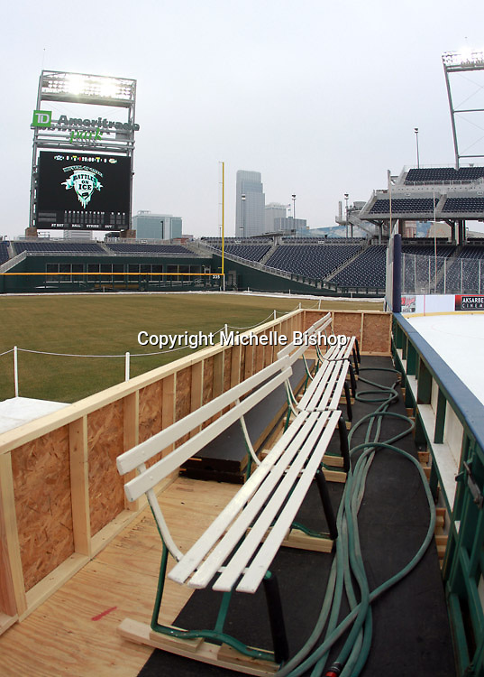 A view from the bench at the outdoor ice rink at TD Ameritrade Park in Omaha, Neb., Thursday, Feb. 7, 2013. (Photo by Michelle Bishop)