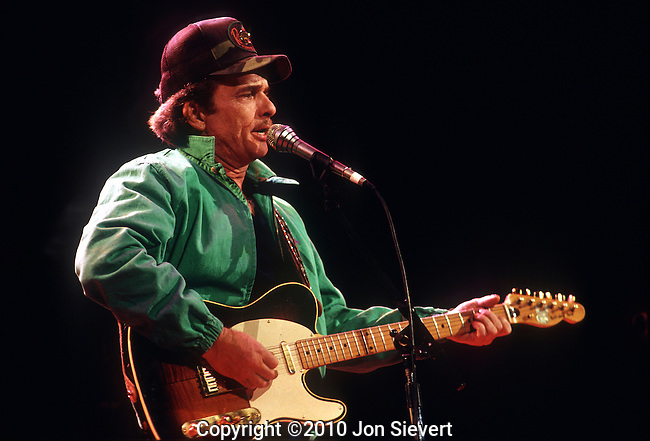 Merle Haggard, March 27, 1987, Oakland Coliseum Arena. an American country music singer, guitarist, instrumentalist, and songwriter. Along with Buck Owens, Haggard and his band The Strangers helped create the Bakersfield Sound, which is characterized by the unique twang of Fender Telecaster guitars, vocal harmonies, and a rough edge not heard on the more polished Nashville Sound recordings of the same era.<br /> <br /> By the 1970s, Haggard was aligned with the growing outlaw country movement, and has continued to release successful albums through the 1990s and into the 2000s.