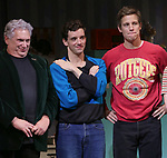 "Harvey Fierstein, Michael Urie and Ward Hortonduring the Broadway Opening Night Curtain Call for ""Torch Song"" at the Hayes Theater on November 1, 2018 in New York City."