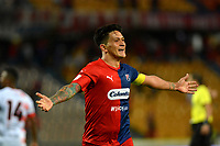MEDELLÍN-COLOMBIA, 10-10-2019: Germán Ezequiel Cano de Deportivo Independiente Medellín celebra el segundo gol que anotó a Cúcuta Deportivo, durante partido de la fecha 16 entre Deportivo Independiente Medellín y Cúcuta Deportivo, por la Liga Águila II 2019, en el estadio Atanasio Girardot de la ciudad de Medellín. / German Ezequiel Cano of Deportivo Independiente Medellin celebrates his second scored goal to Cúcuta Deportivo, during a match for the 16th date between Deportivo Independiente Medellin and Cucuta Deportivo, for the Aguila Leguaje II 2019 at the Atanasio Girardot stadium in Medellin city. Photos: VizzorImage  / León Monsalve / Cont.
