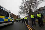 © Joel Goodman - 07973 332324 . 20/01/2018. Doncaster, UK. Hundreds of police separate the EDL and counter-protesters and protect the community . Far-right street protest movement , the English Defence League ( EDL ) , hold a demonstration , opposed by anti-fascists , including Unite Against Fascism ( UAF ) in the Hexthorpe area of Doncaster . EDL supporters chanted anti-Roma slogans as they marched through the town . Photo credit : Joel Goodman