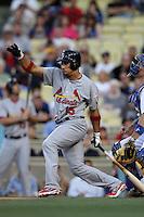 Rafael Furcal #15 of the St.Louis Cardinals bats against the Los Angeles Dodgers at Dodger Stadium on May 18, 2012 in Los Angeles,California. Los Angeles defeated St.Louis 6-5.(Larry Goren/Four Seam Images)