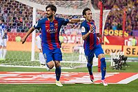 FC Barcelona's midfielder Andre Gomes and forward Neymar Santos Jr celebrating a goal during Copa del Rey (King's Cup) Final between Deportivo Alaves and FC Barcelona at Vicente Calderon Stadium in Madrid, May 27, 2017. Spain.<br /> (ALTERPHOTOS/BorjaB.Hojas) /NortePhoto.com