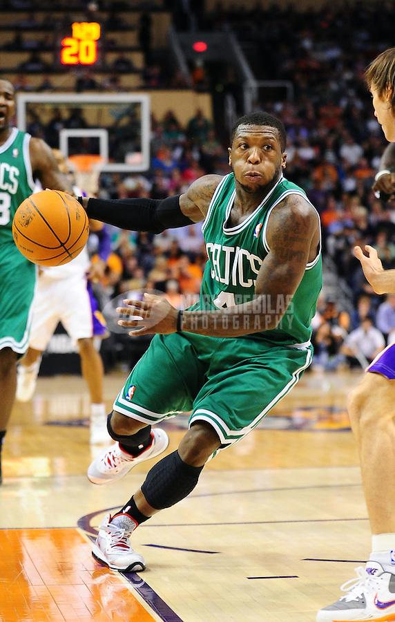 Jan. 28, 2011; Phoenix, AZ, USA; Boston Celtics guard (4) Nate Robinson against the Phoenix Suns at the US Airways Center. Mandatory Credit: Mark J. Rebilas-