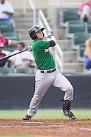 Gavin Cecchini (2) of the Savannah Sand Gnats follows through on his swing against the Kannapolis Intimidators at CMC-Northeast Stadium on June 9, 2014 in Kannapolis, North Carolina.  The Intimidators defeated the Sand Gnats 4-2.  (Brian Westerholt/Four Seam Images)
