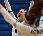 Althoff's Karinna Gall celebrates after Althoff scored. Edwardsville defeated Althoff in a Class 4A volleyball sectional semifinal at O'Fallon HS in O'Fallon, IL on November 4, 2019.<br /> Tim Vizer/Special to STLhighschoolsports.com
