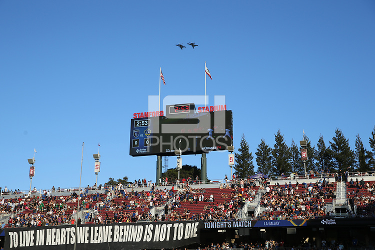 Stanford, CA - Saturday June 30, 2018: Pre-game, flyover prior to a Major League Soccer (MLS) match between the San Jose Earthquakes and the LA Galaxy at Stanford Stadium.