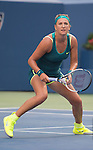 Victoria Azarenka (BLR) splits the first two sets against Angelique Kerber (GER) 7-5, 2-6 at the US Open in Flushing, NY on September 5, 2015.