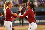 OKLAHOMA CITY, OK - JUNE 04: Meghan King #48 and Zoe Casas #6 of the Florida State Seminoles share a moment against the Washington Huskies during the Division I Women's Softball Championship held at USA Softball Hall of Fame Stadium - OGE Energy Field on June 4, 2018 in Oklahoma City, Oklahoma. (Photo by Shane Bevel/NCAA Photos via Getty Images)