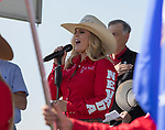 Dally Goemmer sings the National Anthem during the Basque Fry at the Corley Ranch  in Gardnerville, Nevada on Saturday, August 26, 2017.