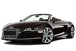 Low aggressive front three quarter view of a 2010 - 2012 Audi R8 Spyder v10 2 Door Convertible.