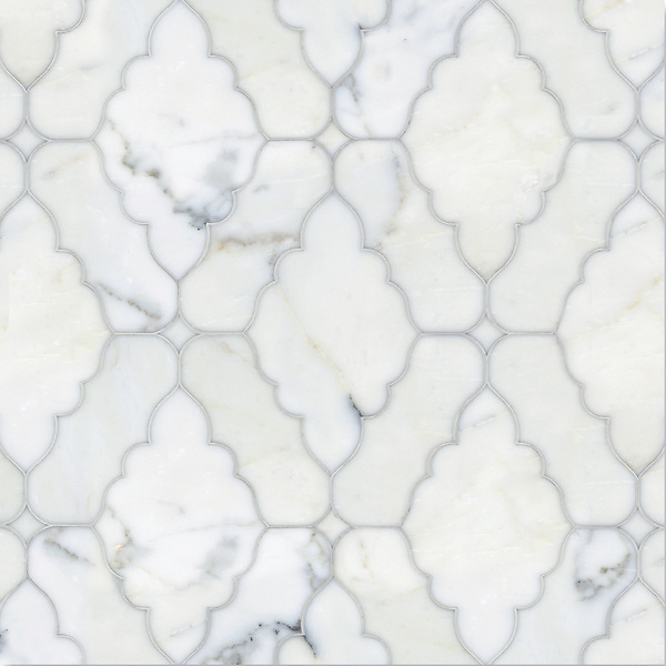 Ganesha, a waterjet stone mosaic, shown in polished Calacatta Tia, is part of the Silk Road Collection by Sara Baldwin for New Ravenna Mosaics. <br />