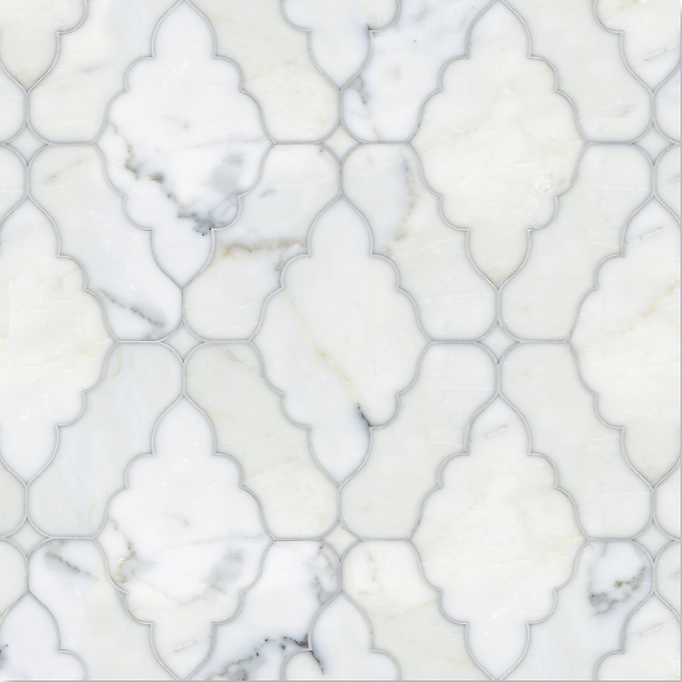 Ganesha, a waterjet stone mosaic shown in polished Calacatta Tia, is part of the Silk Road® collection by New Ravenna.