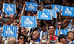 Huddersfield Town fans hold up banners during the premier league match at the John Smith's Stadium, Huddersfield. Picture date 20th August 2017. Picture credit should read: Simon Bellis/Sportimage