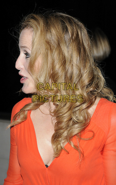 GILLIAN ANDERSON.The Laurence Olivier Awards 2010, Grosvenor House Hotel, London, England. .21st March 2010.headshot portrait red orange sheer look closer circle of shame sweat patch profile  mouth open.CAP/CAN.©Can Nguyen/Capital Pictures.