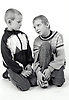 Studio portrait of two boys UK 1990s