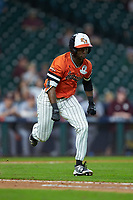 Darien Simms (4) of the Sam Houston State Bearkats hustles down the first base line against the Mississippi State Bulldogs during game eight of the 2018 Shriners Hospitals for Children College Classic at Minute Maid Park on March 3, 2018 in Houston, Texas. The Bulldogs defeated the Bearkats 4-1.  (Brian Westerholt/Four Seam Images)
