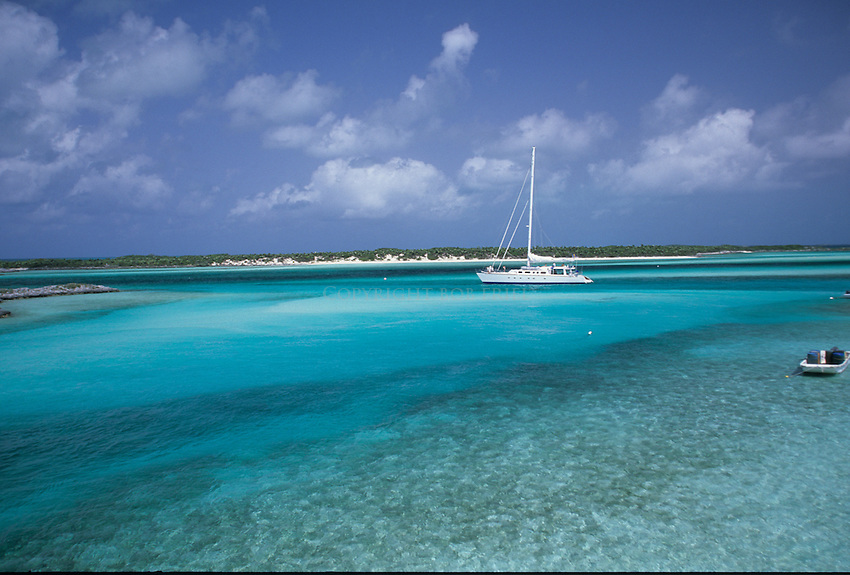 A sailboat anchored in the Exuma Cays Land and Seas Park.