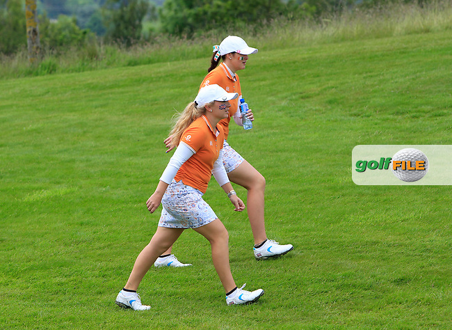 Bronte Law and Olivia Mehaffey on the 14th during the Saturday Mourning Fourbsomes of the 2016 Curtis Cup at Dun Laoghaire Golf Club on Saturday 11th June 2016.<br /> Picture:  Golffile | Thos Caffrey