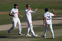 Simon Harmer of Essex celebrates taking the wicket of Steven Davies during Essex CCC vs Somerset CCC, Specsavers County Championship Division 1 Cricket at The Cloudfm County Ground on 28th June 2018