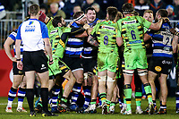 Henry Thomas of Bath Rugby gets to know his opponents. Aviva Premiership match, between Bath Rugby and Northampton Saints on February 9, 2018 at the Recreation Ground in Bath, England. Photo by: Rogan Thomson /JMP for Onside Images