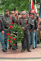 Biker veterans ages 55 marching at Vietnam Wall in Memorial Day ceremony. St Paul Minnesota USA