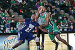 North Texas Mean Green guard Jordan Williams (23) and Jackson State Tigers guard/forward Kenny Demouchet (22) in action during the game between the Jackson State Tigers and the North Texas Mean Green at the Super Pit arena in Denton, Texas. UNT defeats Jackson State 83 to 65...