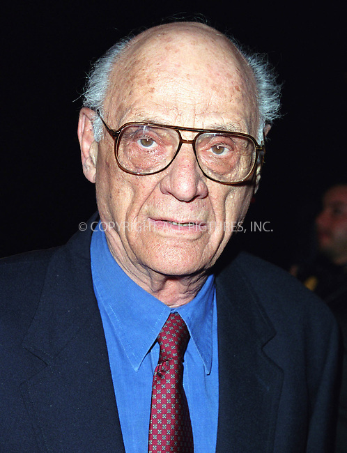 "Legendary playwright ARTHUR MILLER arrives at the Tavern on the Green in New York for the party to celebrate the re-opening of his play ""The Crucible"" starring Liam Neeson and Laura Linney. March 7, 2002. © 2002 by Alecsey Boldeskul/NY Photo Press.   ..*PAY-PER-USE*      ....NY Photo Press:  ..phone (646) 267-6913;   ..e-mail: info@nyphotopress.com"