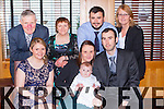 Little James McCarthy, Lucan, Dublin, who celebrated his christening with his parents Ian and Nora (nee McCarthy, Barradubh, Glenflesk), and his family in the Killarney Oaks Hotel on Sunday 28th December front row l-r: Patricia McCarthy, Nora, James and Ian McCarthy. Back row l-r: Pat, Margaret, Kevin and Mary McCarthy