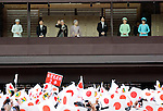 December 23, 2013, Tokyo, Japan - Flanked by his family, Japan's Emperor Akihito waves to flag-waving well-wishers celebrating his 80th birthday during a genreral audiencre at the Imperial Palace in Tokyo on Monday, December 23, 2013. The monarch told the crowd of some 25,000 people that he prayed the coming year will be a good year for all. (Photo by Natsuki Sakai/AFLO)