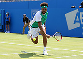 June 19th 2017, Queens Club, West Kensington, London; Aegon Tennis Championships, Day 1; Jo-Wilfried Tsonga of France goes for the backhand while defeating Adrian Mannarino of France