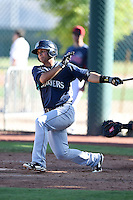 Seattle Mariners second baseman Timothy Lopes (7) during an Instructional League game against the Cleveland Indians on October 1, 2014 at Goodyear Training Complex in Goodyear, Arizona.  (Mike Janes/Four Seam Images)