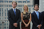(L-r) Eric Trump, Ivanka Trump and Donald Trump Jr. appear at the topping-off ceremony of the new 92-story tall Trump International Hotel and Tower building in Chicago, Illinois on September 24, 2008.  The building will be the tallest in North America upon its completion in six months.