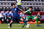 Shibasaki Gaku of Japan (L) fights for the ball with Hojayev Resul of Turkmenistan (R) during the AFC Asian Cup UAE 2019 Group F match between Japan (JPN) and Turkmenistan (TKM) at Al Nahyan Stadium on 09 January 2019 in Abu Dhabi, United Arab Emirates. Photo by Marcio Rodrigo Machado / Power Sport Images