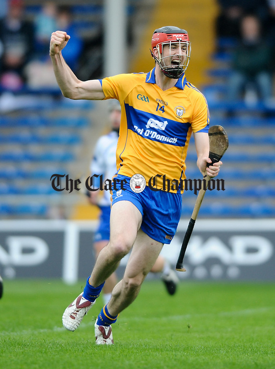 Darach Honan of Clare celebrates his goal  against Waterford during their Senior Munster Championship game in Thurles. Photograph by John Kelly..
