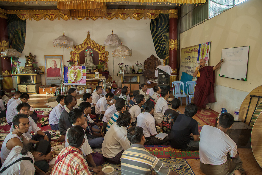 Thaddhamma, one of the leader of 969 movement, teaching a group of business men from Yangon´s biggest whole sale market about patriotism and Buddhism. 20 June 2013 © Thomas Cristofoletti  / Ruom
