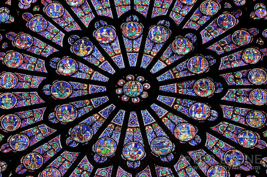 Stain glass window detail in Notre Dame Church, Paris