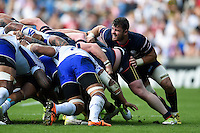 Al McFarland of the USA in action at a scrum. Rugby World Cup Pool B match between Samoa and the USA on September 20, 2015 at the Brighton Community Stadium in Brighton, England. Photo by: Patrick Khachfe / Onside Images
