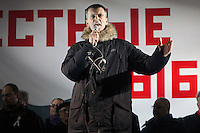 Moscow, Russia, 05/03/2012..Billionaire presidential candidate Mikhail Prokhorov addresses some 20,000 people protesting in and around Pushkin Square against Vladimir Putin's victory in the Russian presidential election.