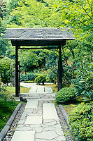 Formal garden gate with unusual walkway, Butchart Gardens, British Columbia, Canada,